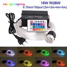 Светодиодный волоконно оптический светильник RGBW, 16 Вт, 0,75 мм * 50 шт. *(2 м + 3 М + 4 м + 5 м), комплект потолочного светильника Star, оптический светильник ing + Радиочастотный пульт дистанционного управления с 24 кнопками + кристалл