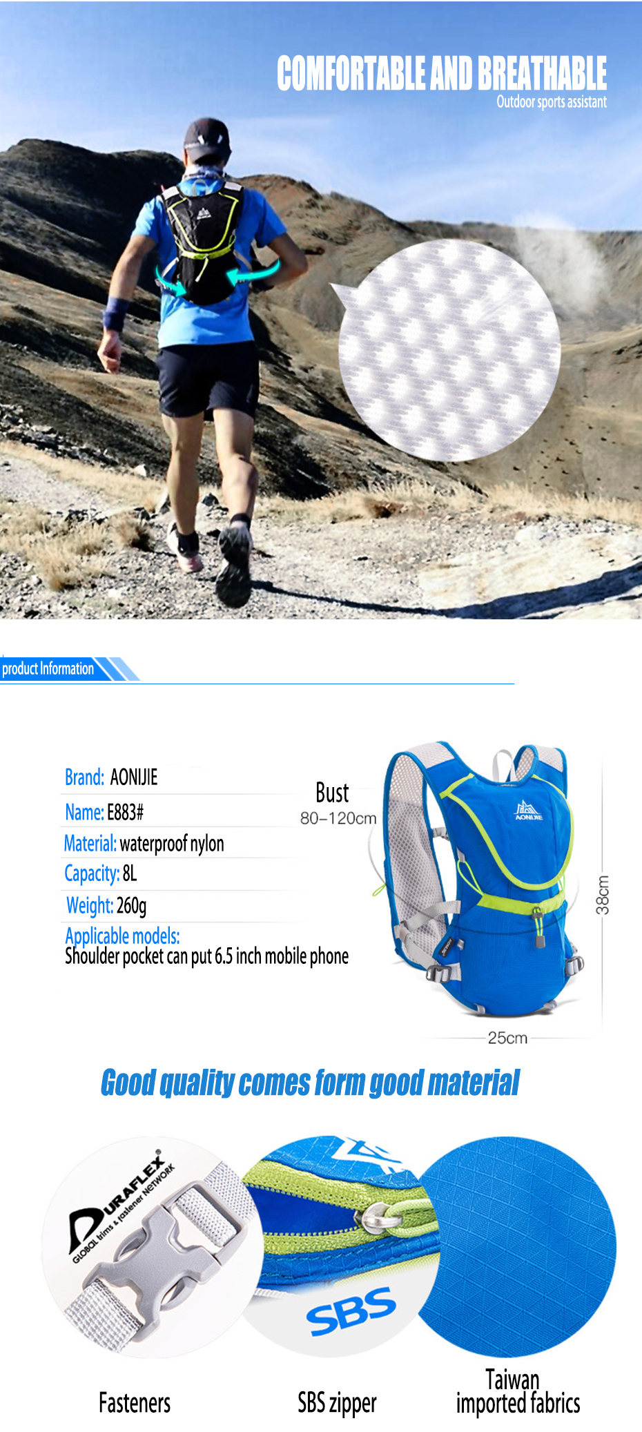 2018 Aonijie Outdoor Trail Running Marathon Hydration Backpack C930 15l Blue Getsubject Aeproductgetsubject