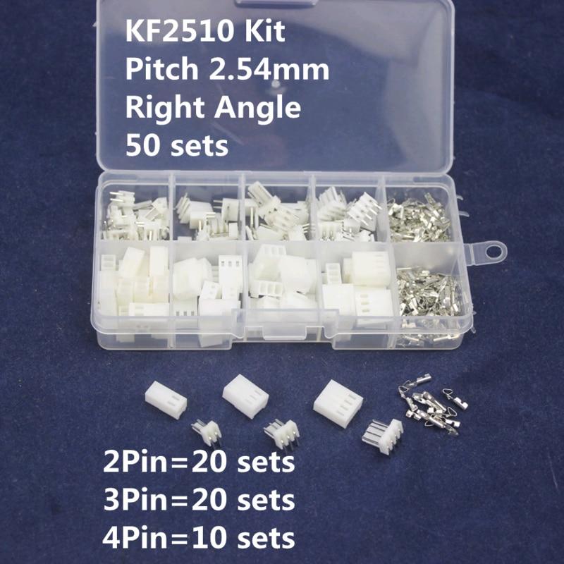 KF2510 Kits 50 sets Right Angle Kit in box 2p 3p 4 pin 2.54mm Pitch Terminal / Housing / Pin Header Connectors Adaptor [vk] 553602 1 50 pin champ latch plug screw connectors