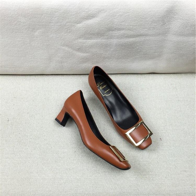 grey Noce Leather Matte grey Chaussures Patent khaki Boucle white D'été Décor Confortable Récents Cuir Pompes tawny En Haute Femmes Geunine Brown Talons Matte De wAHBZA0Fq