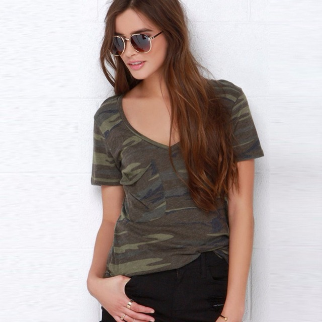 46157f1ddb093 Army Camouflage Print T Shirt Women Tops Rivet Short Sleeves T-shirt Sexy  Classic Military style Tee High Quality