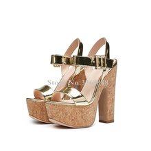 1dd37c8e Más nuevo de oro de madera gruesos tacones Mujer Sandalias 5 cm plataforma  15 cm tacones altos Peep Toe zapatos mujer fiesta zap.