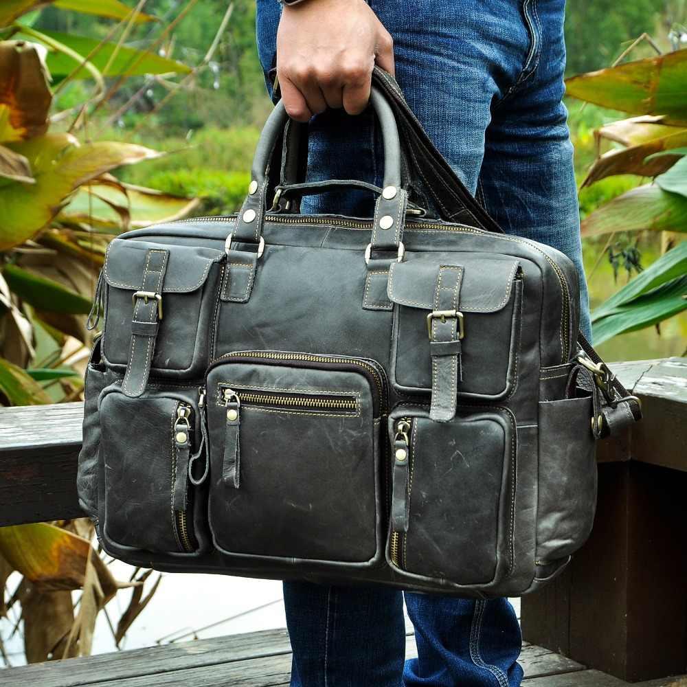 """Maletín de viaje de gran capacidad antiguo de cuero Real para hombres, maletín de negocios de 15,6 """"para portátil, Portafolio de bolsa de mensajero Attache 3061-b"""