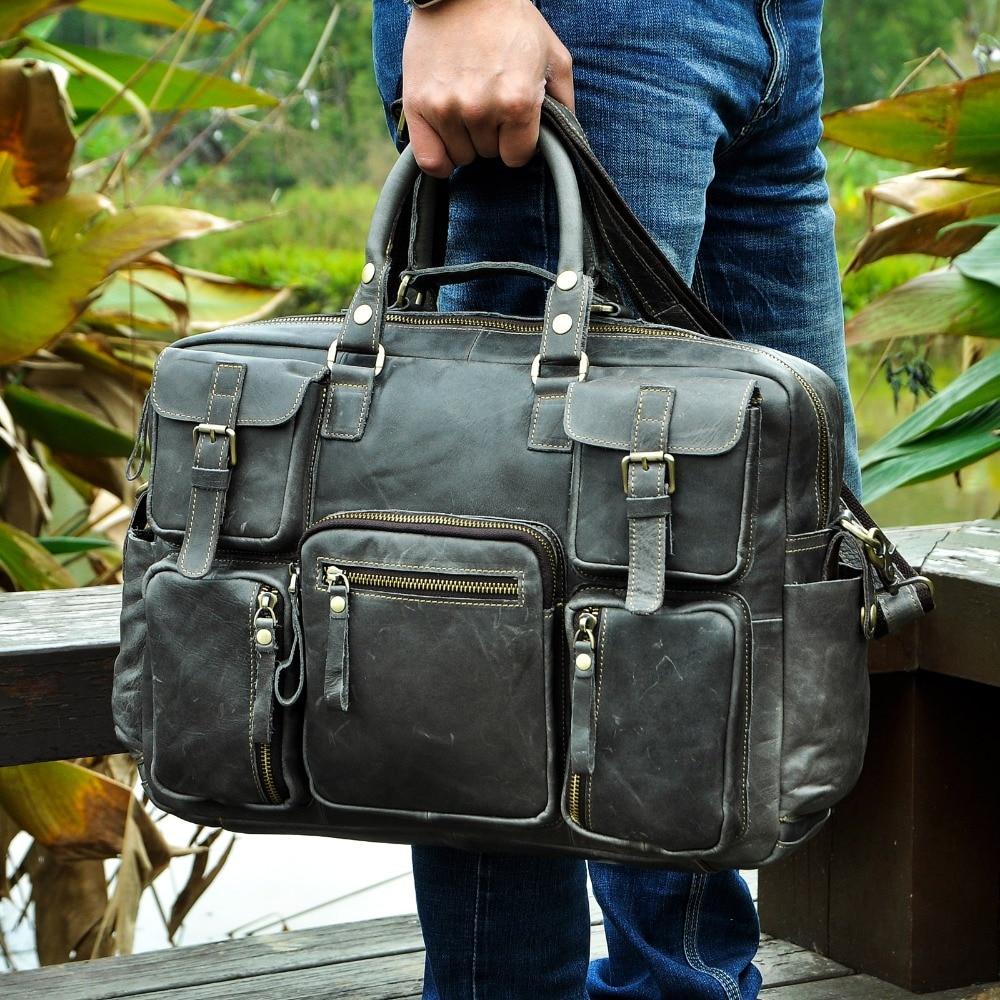 """Men Real Leather Antique Large Capacity Travel Briefcase Business 15 6 Laptop Case Attache Messenger Bag Men Real Leather Antique Large Capacity Travel Briefcase Business 15.6"""" Laptop Case Attache Messenger Bag Portfolio 3061-b"""