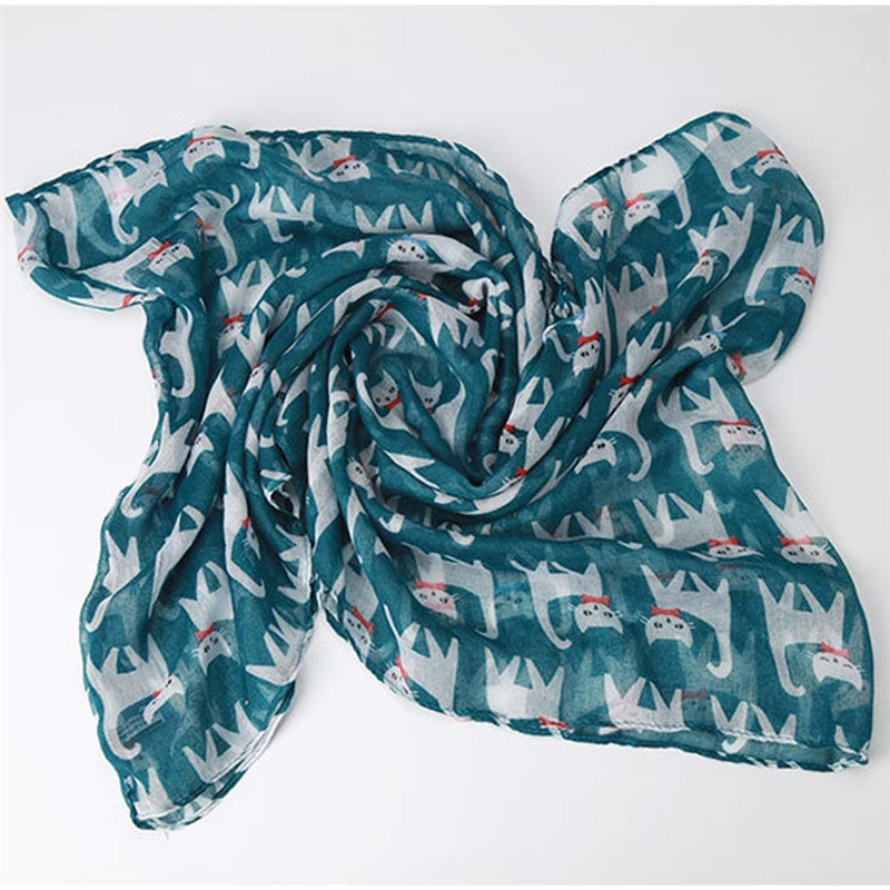 #5505 Women Ladies Girl Voile Bow Cat Printed Pattern Silk Scarf Wrap Shawl Scarf