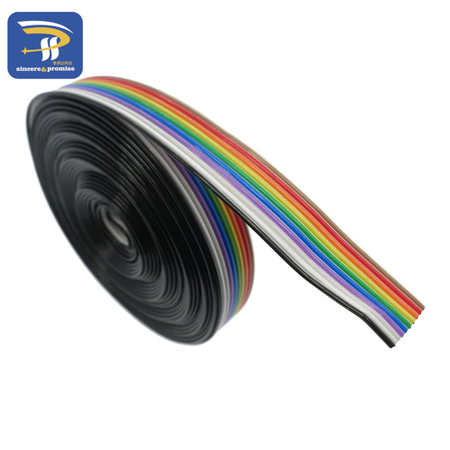 Drop Shipping ribbon cable 10 WAY Flat Color Rainbow Ribbon Cable wire Rainbow Cable 10P ribbon cable 1.27MM pitch 5meters/lot