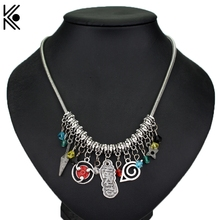 Colar ожерелье с подвеской Naruto ювелирные изделия Konohagakure konoha Ninja логотип колье ожерелье хрустальные бусины аксессуары подарок