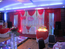 Red wedding Backdrop Wholesale stage decoration 10ft*20ft Stage Backdrop with Detachable Swag