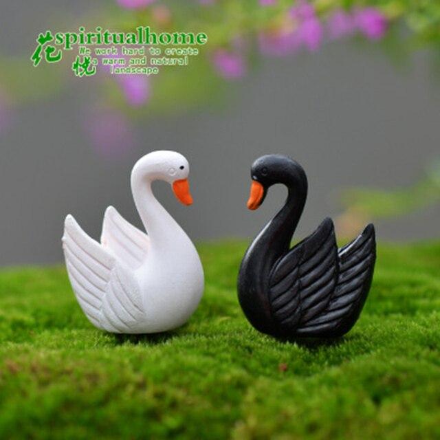 ZOCDOU 2 Pieces Swan Black White Cygnus goose Lake Model Statue Figurine Micro Crafts Ornament Miniatures DIY Home Garden Decor 5