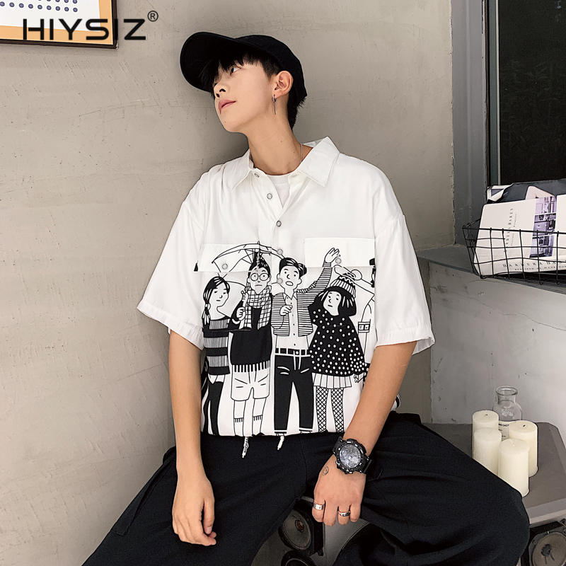 HIYSIZ NEW T-Shirt Men 2019 Summer Casual Fashion Trend Streetwear mens blouses go with ins Korean trend t-shirts ST435