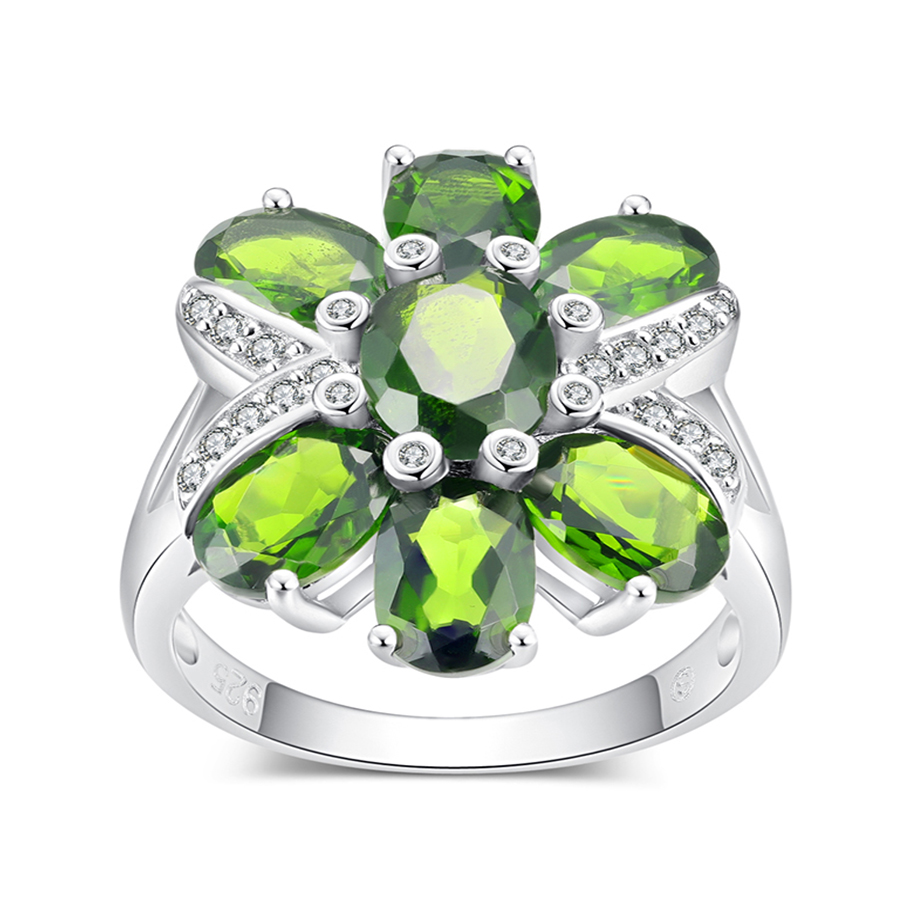 PJC Natural Gemstone 8*6&7*5mm 6.60cts Oval Shape Chrome Diopside With 0.25cts White Zircon 925 Sterling Silver Ring