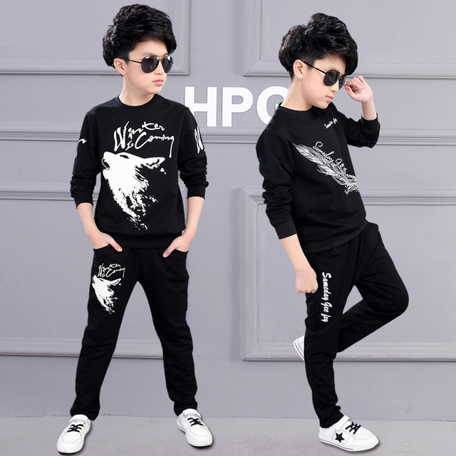 b76ab8c2d 2018 Fall New Style Boys Fashion Wolf Printing Clothing Set Children's Tops  + Pants 2 Pcs Tracksuit Female Kids Sports Suit A199