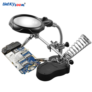 3.5X 12X Welding LED Magnifier Helping Hand Illuminated Magnifying Glass Jewelry Loupe Third Hand Soldering Reading Repair Lupa