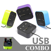 High Quality All In One USB Combo Adapter 3 Port USB2 0 HUB Splitter 4 Ports
