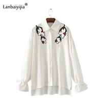 Lanbaiyijia новейшая Весенняя рубашка с вышитыми цветами и бусинами женские рубашки с отложным воротником и длинными рукавами женские Пуловеры