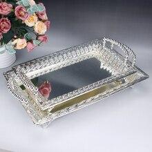 Фруктовая тарелка, Сервировочная панель лотка, металлический поднос для отеля, столовая посуда, тарелка, золото/серебро, поднос