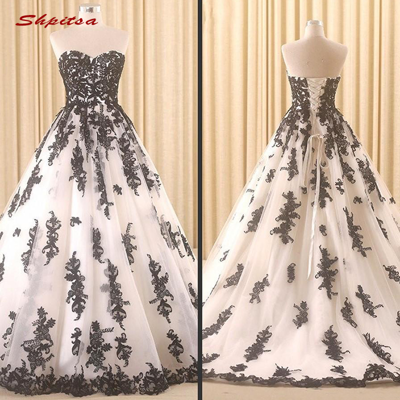White With Black Wedding Gowns: Lace Black And White Wedding Dresses Sweetheart Tulle Plus