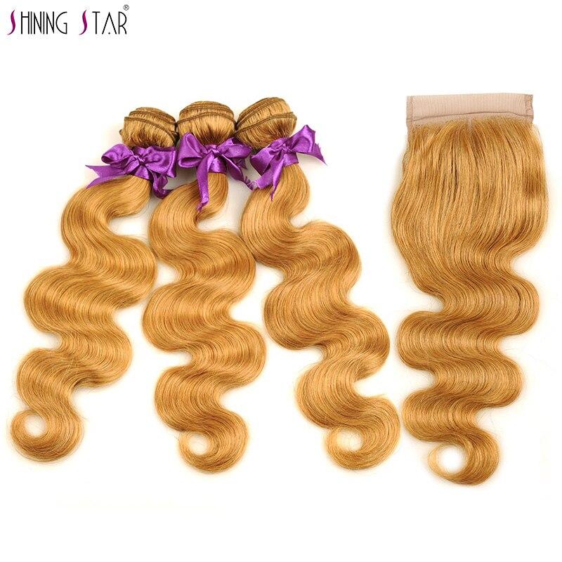 3 Brazilian Honey Blonde Bundles With Closure Colored 27 Body Wave Bundles With Closure Human Hair