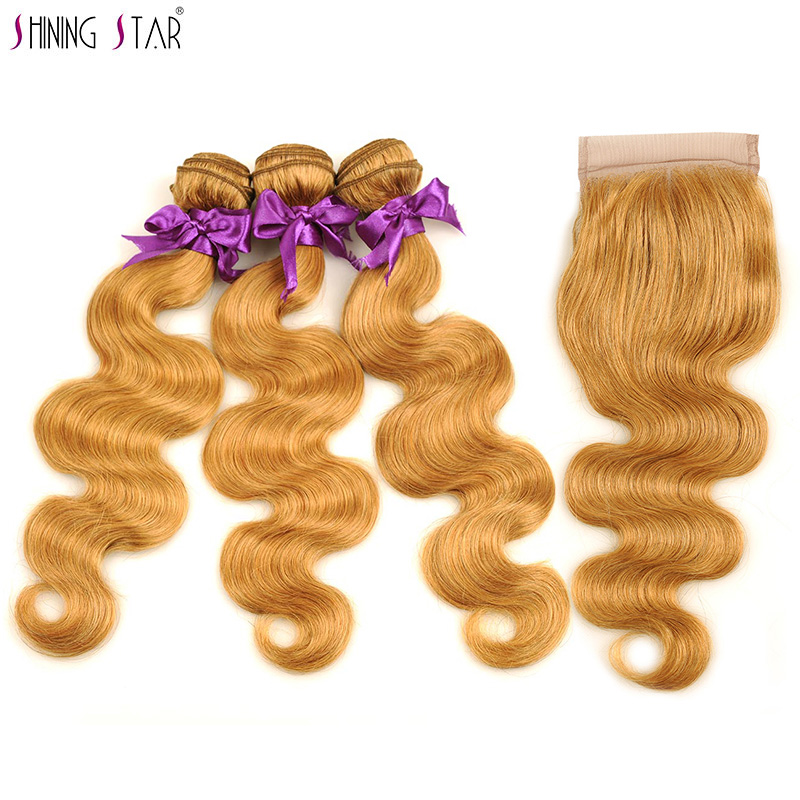 3 Brazilian Honey Blonde Bundles With Closure Colored 27 Body Wave Bundles With Closure Human Hair Weave Shining Star Non Remy-in 3/4 Bundles with Closure from Hair Extensions & Wigs    1