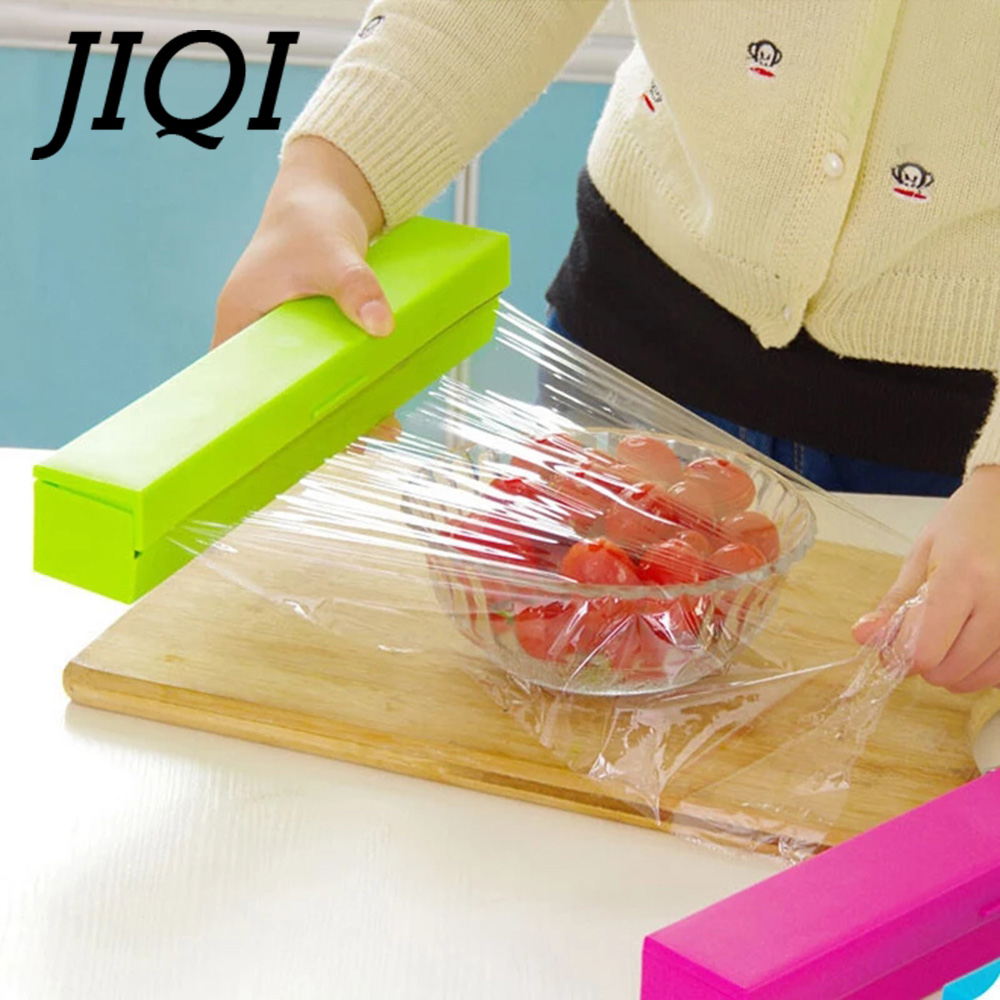 JIQI Portable Mini Food Sealer Household Stainless Steel Cling Film Cutting Machine Plastic Wrap Cling Film Cutter Box Non-Toxic