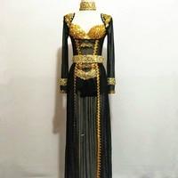 Black Rhinestone Sequins Bodysuits Skirt Costumes Women Sexy Sexy Bright Gold Clothing Set Female Singer Dance Stage Leotard DJ