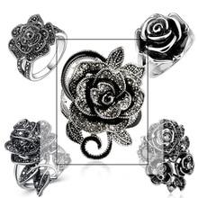 Huitan, черная Роза, кольцо с фианитами, микро ПАВЕ, Рождество, Год, вечерние ювелирные изделия, винтажные цветочные кольца для женщин, опт, много оптом