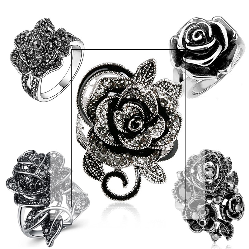 Huitan Black Rose Ring with CZ Micro Pave Christmas New Year Party Jewelry Vintage Flower Rings for Women <font><b>Wholesale</b></font> <font><b>Lots</b></font> <font><b>Bulk</b></font> image