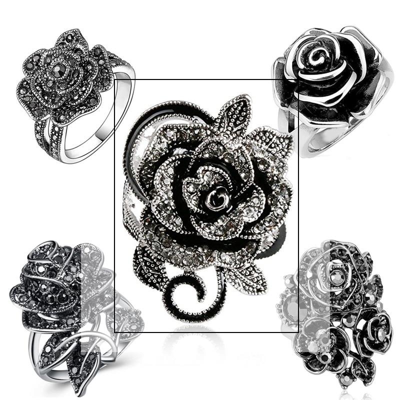 Huitan Schwarz Rose Ring Mit Cz Micro Pflastern Weihnachten Neue Jahr Party Schmuck Vintage Blume Ringe Für Frauen Wholesale Lots Groß