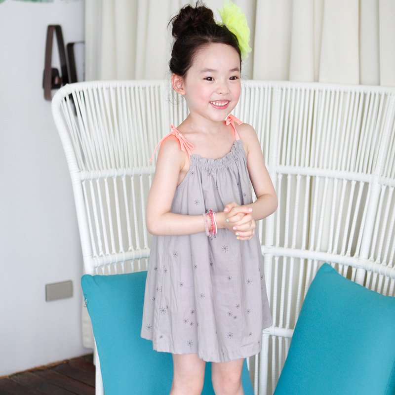 Lovely Summer House Design: Children 's Summer Clothing Single Print Grey Dress With