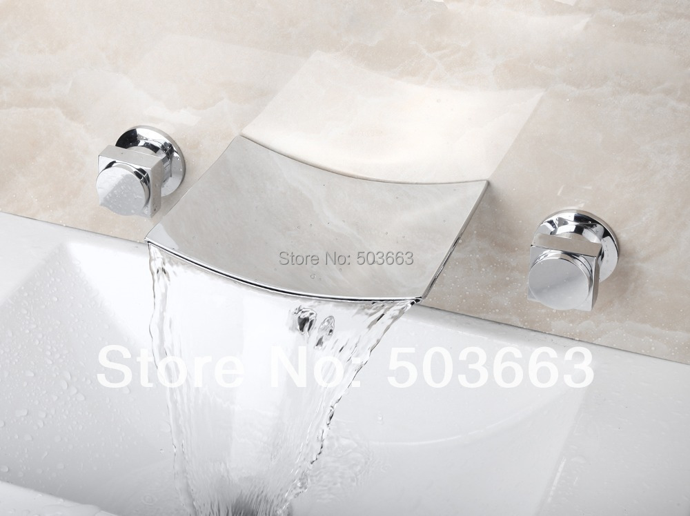 Hot Waterfall Wall Mounted Bathroom Basin Sink Bathtub Polished Chrome Double Handles Mixer Tap Faucet  MF-813 free shipping high quality bathroom toilet paper holder wall mounted polished chrome