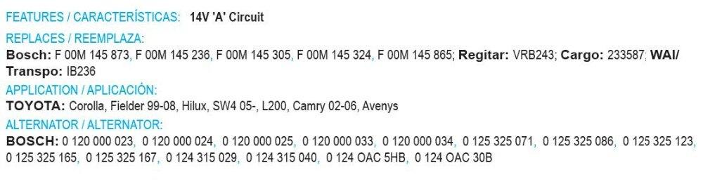 Новые 14 V регулятор F00M145873 F00M145236 F00M145305 F00M145324 233587 IB236 для генератор Toyota 0120000023 0120000024