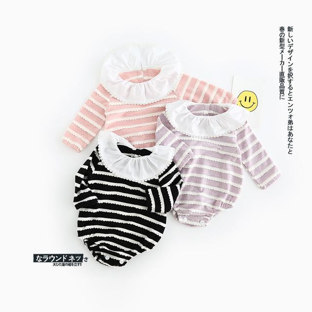 Ins listrado rendas bodysuit bebê meninos meninas peter pan collar manga comprida primavera macacão da criança infantil escalada clothing