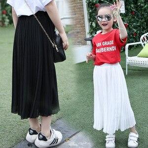 Длинная юбка для девочек модная детская одежда Детские Гофрированные шифоновые юбки розового и черного цвета юбка для девочек-подростков л...