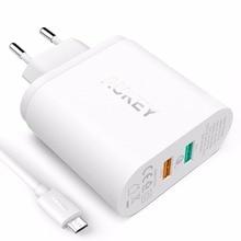 Быстрая Зарядка 2.0 AUKEY Двухпортовый USB Зарядное Устройство и Кабель MicroUSB для Nexus 6, Samsung S7/S6/Edge/Плюс, примечание 4/5, LG G4 и Более