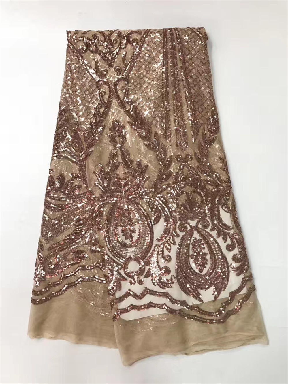 French Lace Fabric High Class African Laces Fabric champagne gold With Sequins Embroidery For Sewing Beauty Women Dress