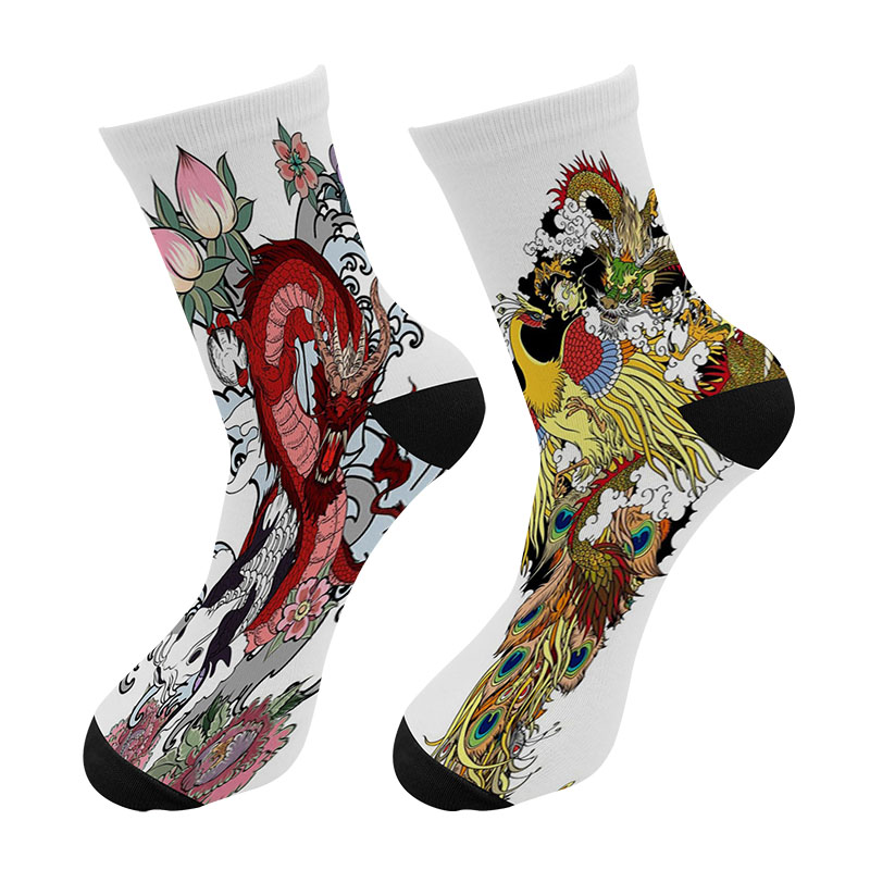 New 3D Printed Chinese Ukiyo-e Dragon Graffiti Painting Crew Socks Men Funny Phoenix Dragon Long Socks Men's Dress Tube Socks