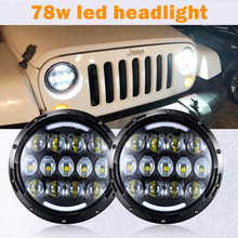 2 Pcs 78W Car LED Headlight Waterproof Round High/Low Beam Light for Jeep Wrangler Auto Bulbs LED