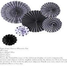 6Pcs Wedding Paper Fans Of Black Paper Fans For Wedding Tissue Paper Fans Flowers Party Hol