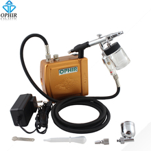 OPHIR Portable Mini Air Compressor Dual Action Airbrush for Hobby Cosmetics Tattoo_AC003G+AC005+AC011