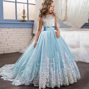 Image 4 - Elegant Kids Girls Princess Dress Flower Girls Wedding Dresses For Girls Birthday Children Evening Party Dress Vestido 4 14 Year