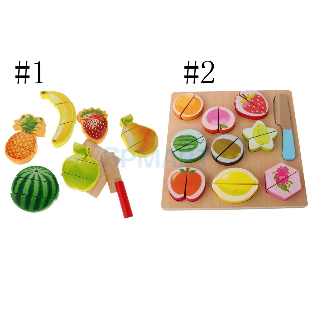 8/11 Pieces Kitchen Wooden Fruits Baby Educational Pretend Cut Toys Play Set