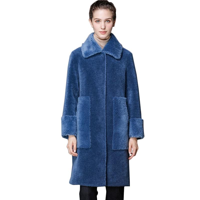 Long Veste Hiver Femmes De Coréenne Manteau Femme Réel Chaud 2019 Automne Manteaux Pour Blue Vintage En Laine Zl751 Fourrure Vêtements 8ZaqwxX1