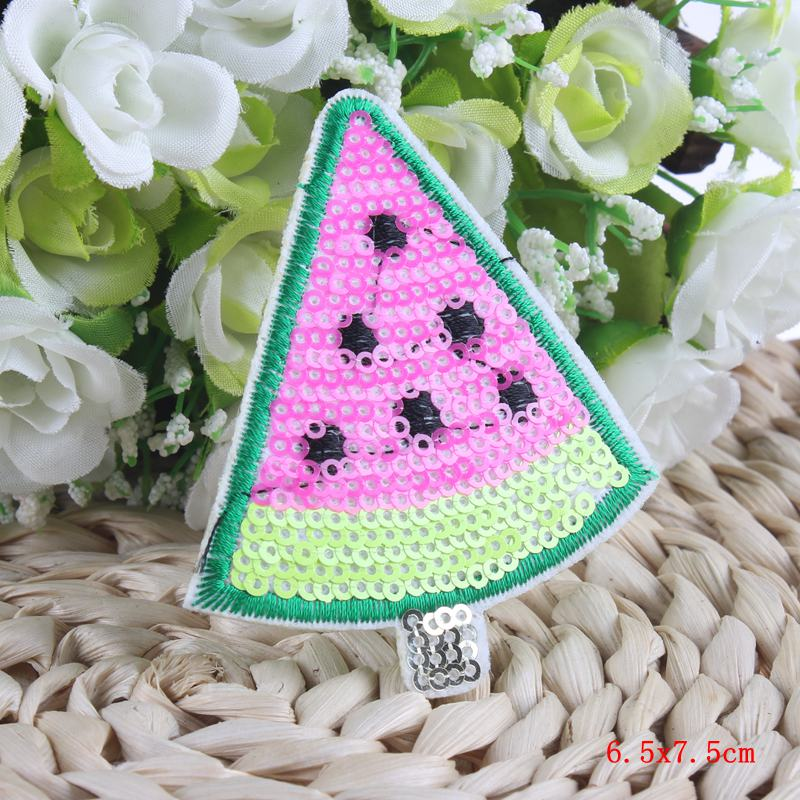 Apparel Fabric Stickers Sewing Badge Embroidery IceCream Sequins Iron On Patches For Clothes Applique Kids DIY Accessory 10Pcs