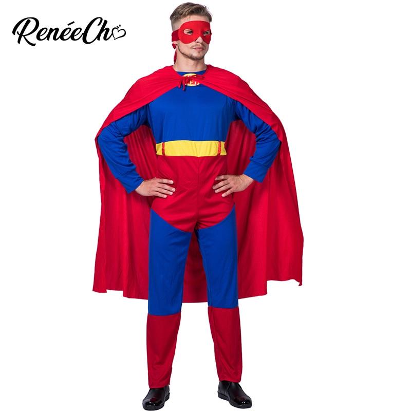 Halloween Costume For Adult Men Superman Costume Adult Superhero Cosplay Jumpsuit Cloak Mask Full Set 2019 Batman Costume