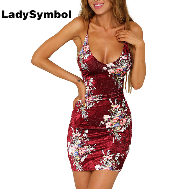 d00f879991 LadySymbol Floral Print Velvet Summer Dress Women Slim Casual Bodycon Dress  Backless Sexy Red Elegant Short Party Mini Dresses