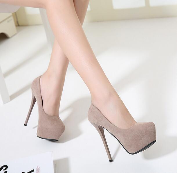 MANMITU10-Free Shiping 2016 Occident NEW Autumn Flock Single Shoes Women High Heels Fashion Slim Platform Pumps  Beige 13cm