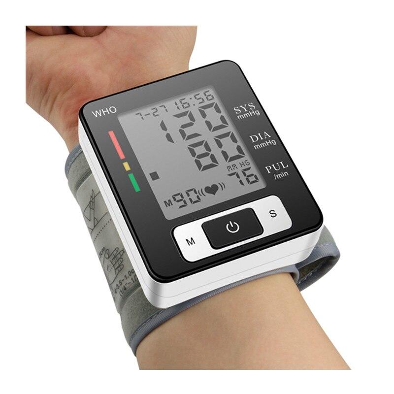 Automatyczny ciśnieniomierz nadgarstkowy monitor ciśnienia urządzenie do pomiaru rytmu serca LCD cyfrowy wyświetlacz dokładnie zmierzyć działanie baterii