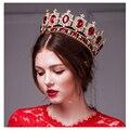 Royal crown rhinestone de oro grande de Europa imitación rubí accesorios corona tiara super gran corona pelo de la boda