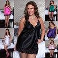 Frete grátis sexy lingerie hot Sling profundo Decote Em V lingerie sexy chemise plus size xl-4xl 6 cores lenceria sexy sexy fantasias