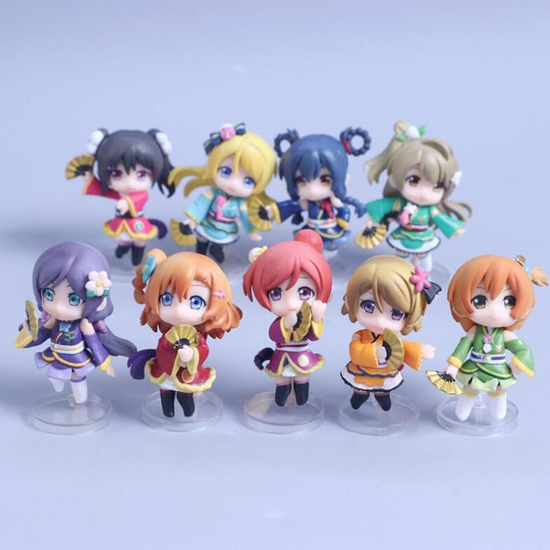 LoveLive 9pc/set Yazawa Nico 6~7cm Minami Kotori anime model dolls School idol festival Nendoroid collection PVC toy gifts стоимость